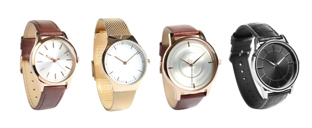 Collage of stylish watches on white background. Banner design