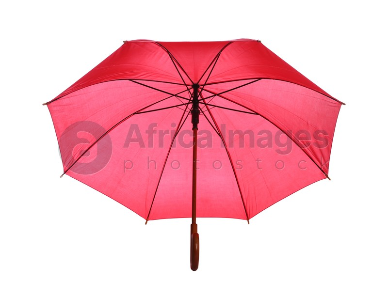 One open red umbrella isolated on white