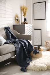 Comfortable sofa with soft plaid in stylish room interior