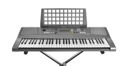 Synthesizer isolated on white. Electronic musical instrument