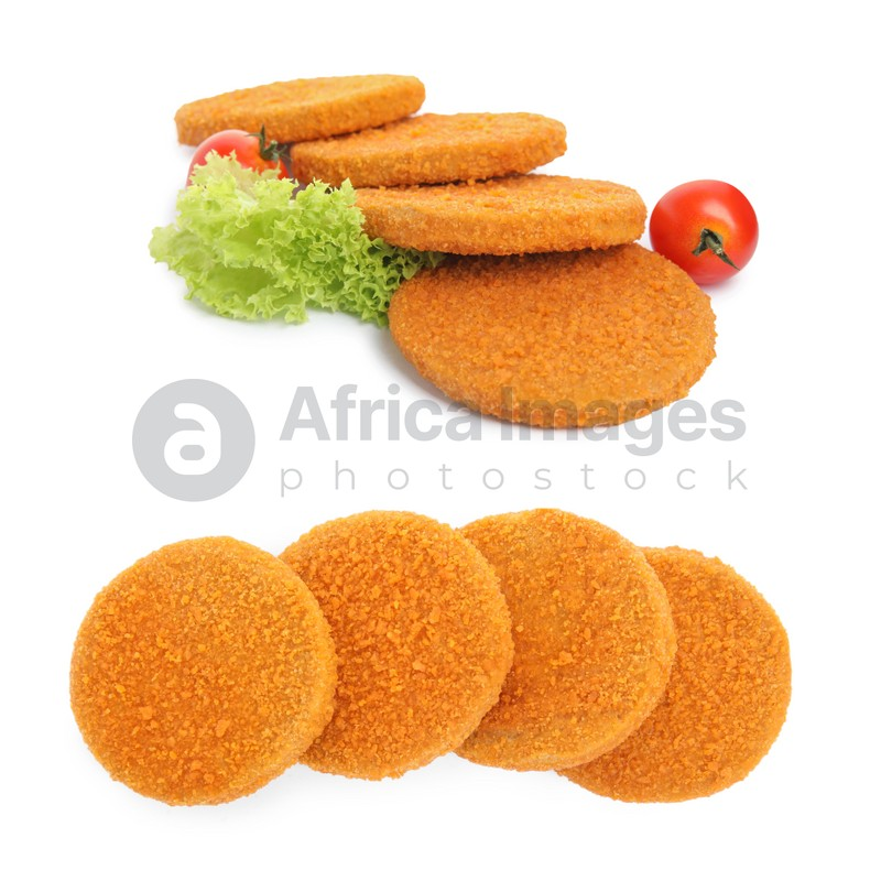 Tasty breaded cutlets on white background, collage