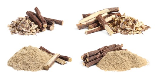 Set with dried sticks of liquorice root, shavings and powder on white background. Banner design