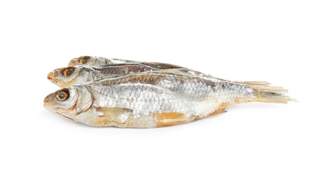 Tasty dried fish isolated on white. Seafood