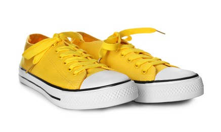Pair of trendy sneakers isolated on white
