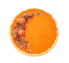 Delicious homemade pumpkin pie isolated on white, top view