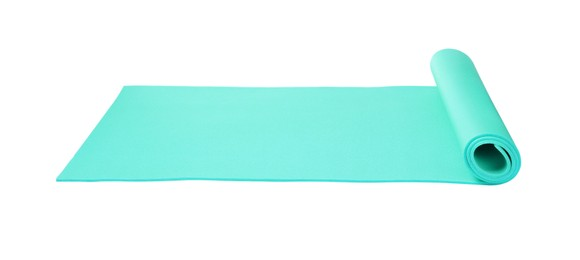 Bright turquoise camping mat isolated on white