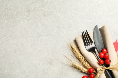 Cutlery, rosehip berries and napkin on light table, flat lay with space for text. Thanksgiving Day