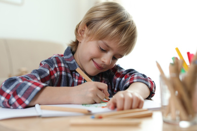 Little boy drawing at table indoors. Creative hobby