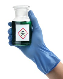 Medical worker holding bottle with poison on white background, closeup