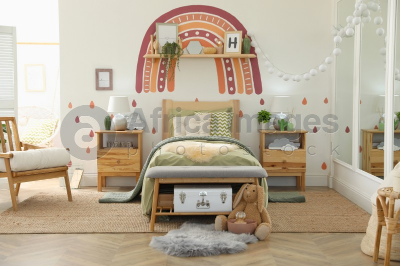 Modern girl's bedroom interior with stylish furniture. Idea for design