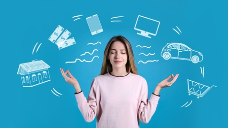 Calm happy woman and illustration of different tasks around her on blue background. Balance in life