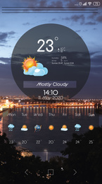 Weather forecast widget on screen. Mobile application