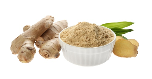 Dry ginger powder, fresh root and leaves isolated on white