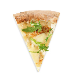 Slice of tasty cheese pizza with arugula isolated on white, top view