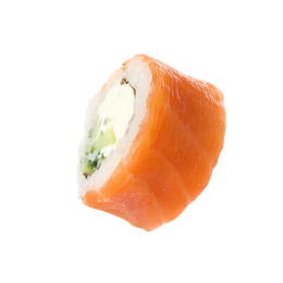 Delicious fresh sushi roll on white background