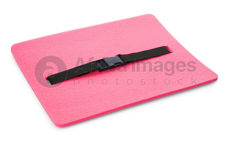 Pink foam seat mat for tourist isolated on white