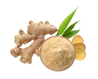 Dry ginger powder, fresh root and leaves isolated on white, top view