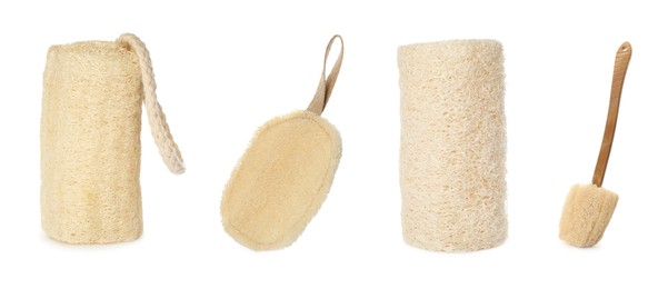 Set with natural shower loofah sponges and brush on white background. Banner design