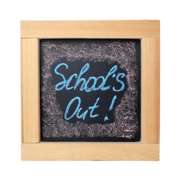 Chalkboard with text School's Out isolated on white. Summer holidays