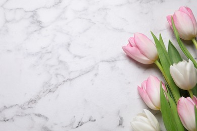 Beautiful tulips  on white marble table, flat lay. Space for text