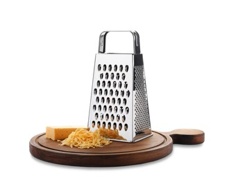 Grater and cheese with wooden board isolated on white