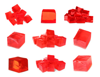 Set of delicious red jelly cubes on white background