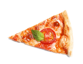 Slice of delicious pizza Margherita isolated on white, top view