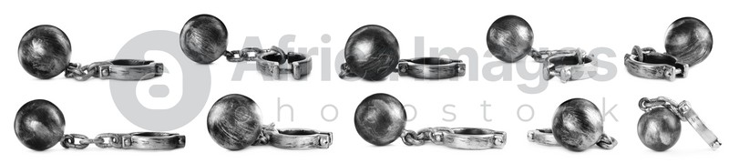 Set with metal balls and chains on white background, banner design