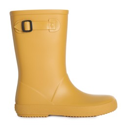 Modern yellow rubber boot isolated on white