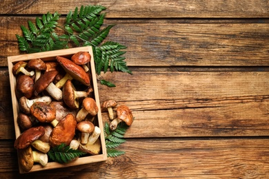 Fresh wild slippery jack mushrooms on wooden table, flat lay. Space for text
