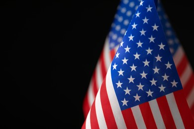 American flag on black background, closeup with space for text. Memorial Day