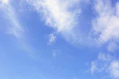 Beautiful blue sky with white clouds outdoors