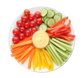 Plate with celery sticks, other vegetables and dip sauce isolated on white, top view