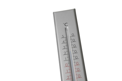 Modern grey weather thermometer on white background