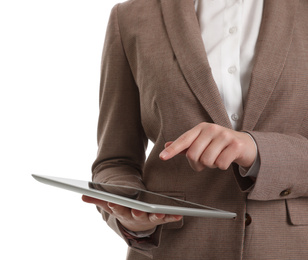 Young businesswoman with tablet on white background, closeup