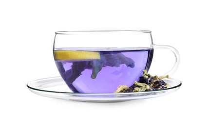 Glass cup of organic blue Anchan with lemon on white background. Herbal tea