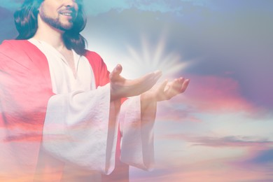 Double exposure of Jesus Christ and beautiful sky