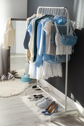 Dressing room interior with clothing rack indoors