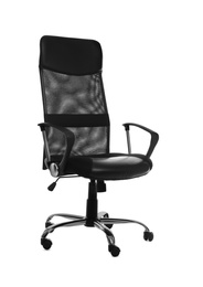 Comfortable office chair with leather seat isolated on white