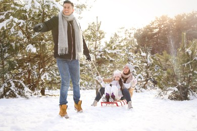 Father pulling sledge with his wife and daughter outdoors on winter day. Christmas vacation
