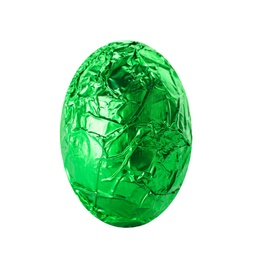 Chocolate egg wrapped in bright green foil isolated on white