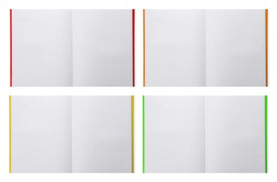 Set with open planners on white background, top view