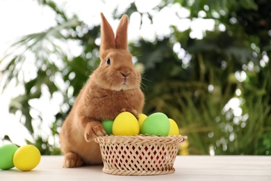 Cute bunny and basket with Easter eggs on table against blurred background. Space for text