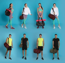 People with sports bags on light blue background, collage