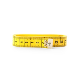 Yellow folded measuring tape isolated on white