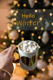 Hello Winter. Woman with cup of cocoa at home, closeup