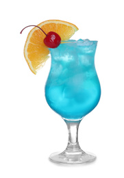 Fresh alcoholic Blue Lagoon cocktail isolated on white