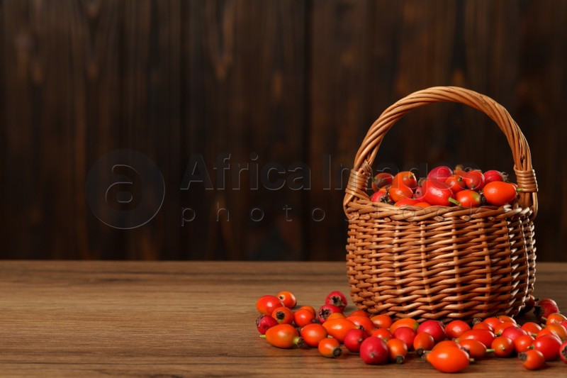 Ripe rose hip berries with wicker basket on wooden table. Space for text