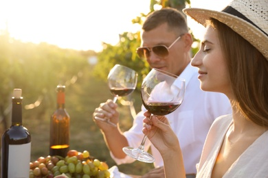 Couple tasting red wine at vineyard on sunny day