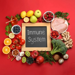 Set of natural products and chalkboard with text Immune System on red background, flat lay